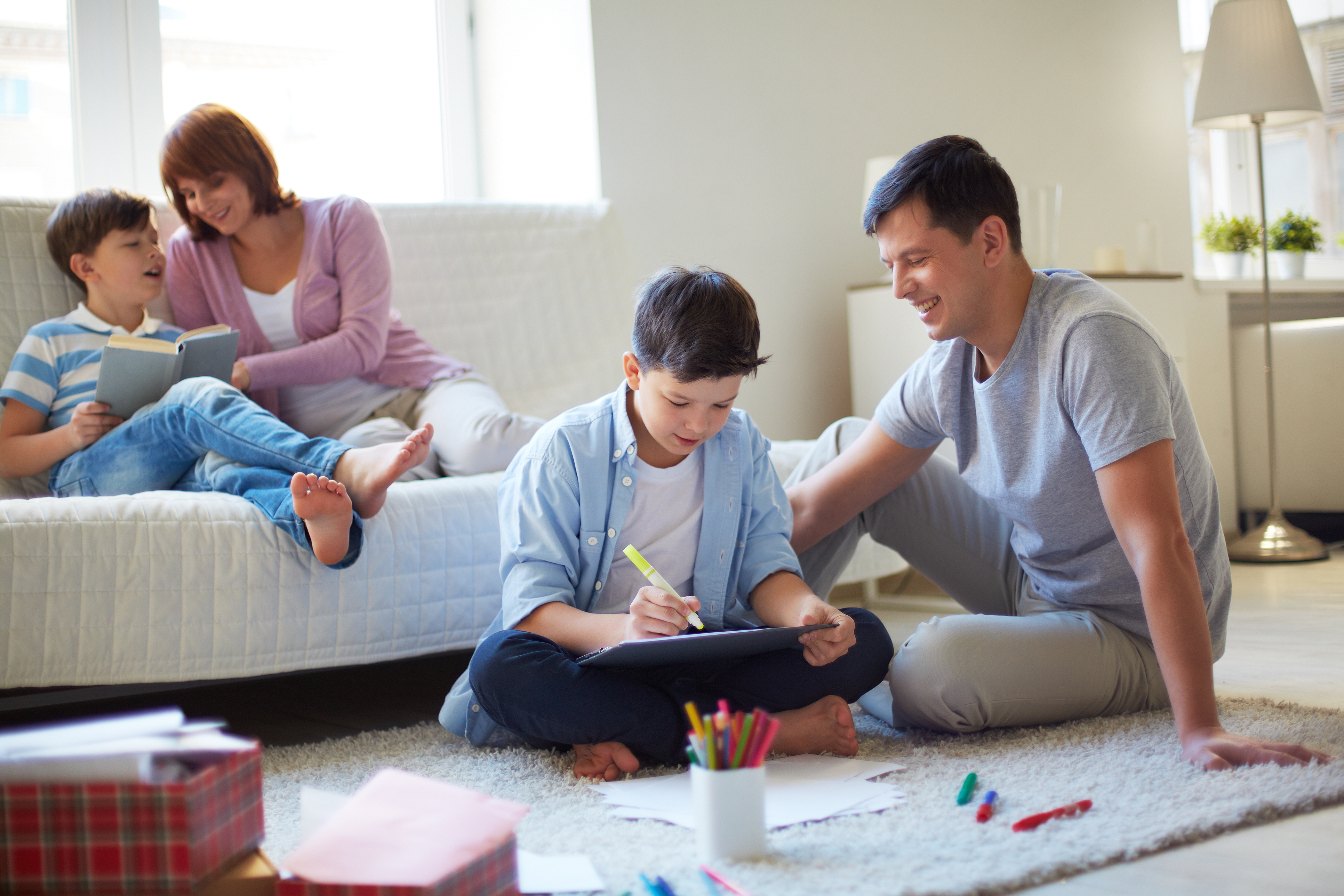 Family enjoying time together in living room